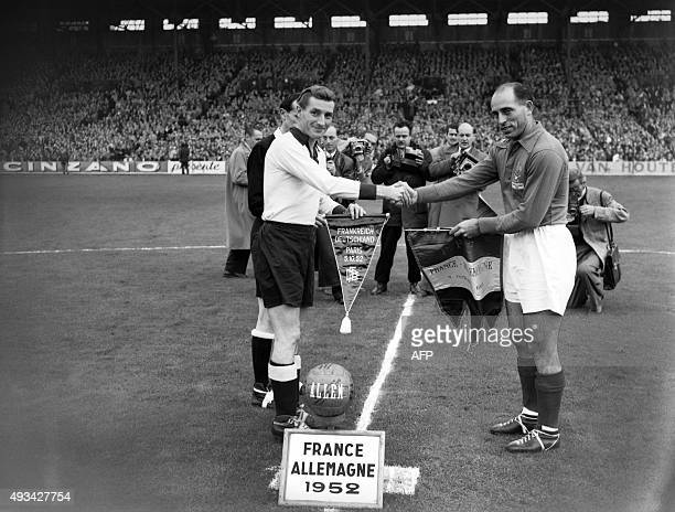 The French soccer national team face his German counterpart on October 05 1952 at Colombes near Paris AFP PHOTO / AFP /