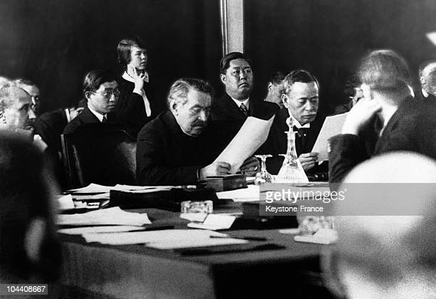 The French socialist and pacifist Aristide BRIAND in Geneva between September and December 1931 He was presiding over the League of Nations Council...