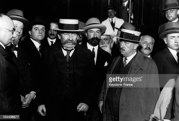 The French socialist and pacifist Aristide BRIAND on his arrival in Geneva Switzerland He proposed the creation of a European regional union upon the...