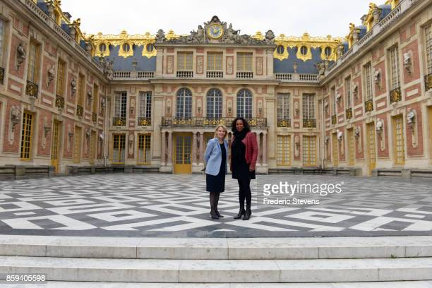 The French Sports Minister Laura Flessel and the president of the Public Establishment of the Palace of Versailles Catherine Pegard visit 2024 Paris...
