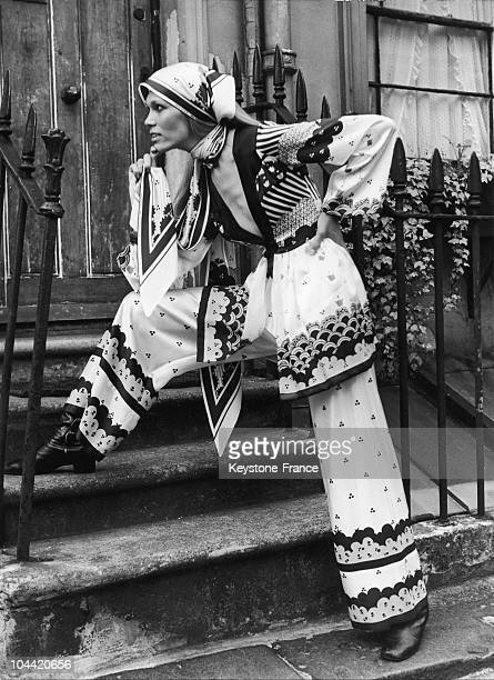 The French Super Model Amanda Lear Posing In London Presenting An Outfit By Ossie Clark From His And Alice Pollock'S FallWinter Collection On August...