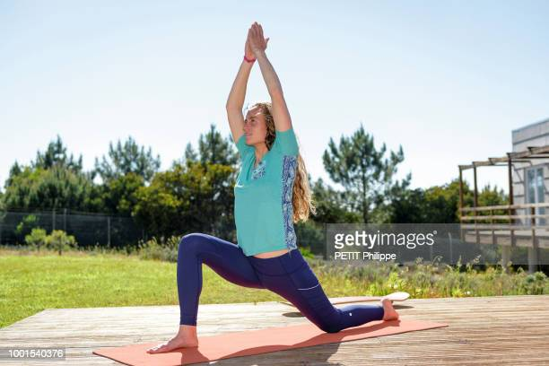the french surf champion Justine Dupont is photographed for Paris Match at her Yoga Class in Nazare Portugal on May 15 2018