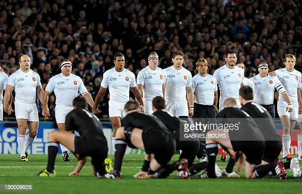 The French team advance to receive the challenge of the New Zealand All Black Haka before the 2011 Rugby World Cup final match New Zealand vs France...