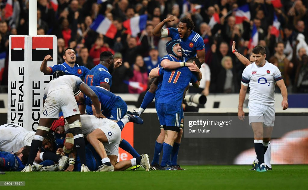 The French team celebrate victory after the NatWest Six Nations match between France and England at Stade de France on March 10, 2018 in Paris, France.