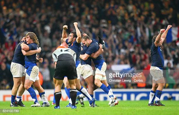 The French team celebrates after the IRB World Cup rugby quarter final between France and the All Blacks from New Zealand France won the the match...