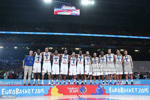 The French team celebrates the bronze medal of the EuroBasket after the game between France v Serbia at Stade Pierre Mauroy on September 20 2015 in...