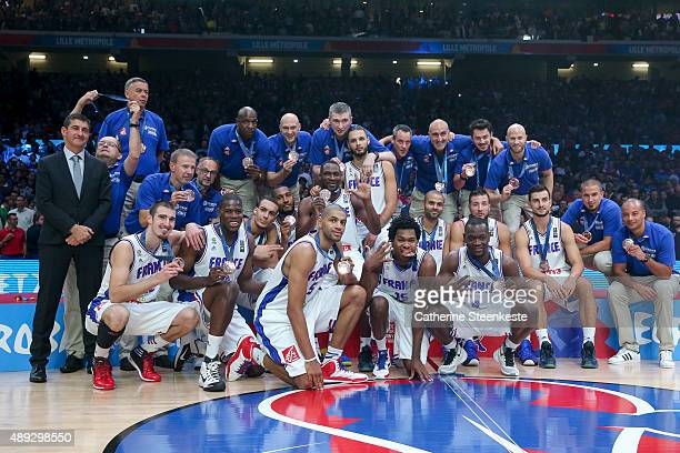 The French team celebrates the bronze medal of the EuroBasket after the game between France v Serbia at Stade Pierre Mauroy on September 20, 2015 in...