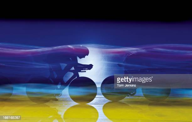 The French team during a qualifying round of the team pursuit competition in the Track Cycling World Cup Classics meeting at the National Cycling...