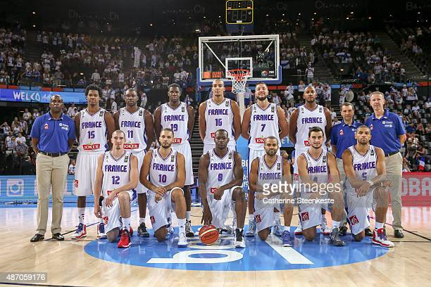 The French team is posing for a picture before the EuroBasket Group Phase game between France v Finland at Park and Suites Arena on September 5 2015...