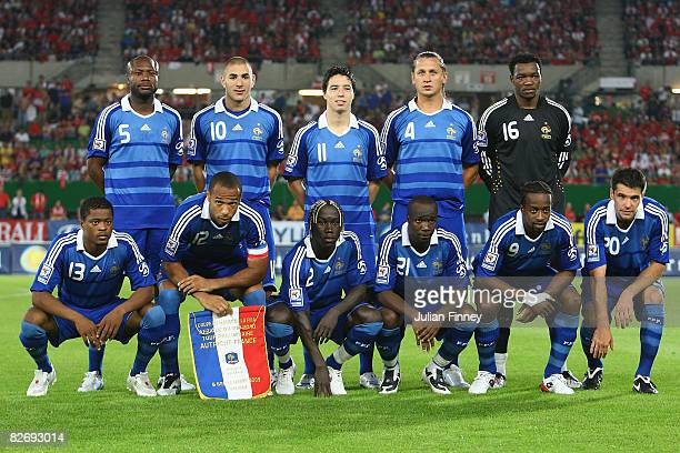 The French team line up before the FIFA2010 World Cup Qualifier Group 7 match between Austria and France at the ErnstHappel Stadium on September 6...