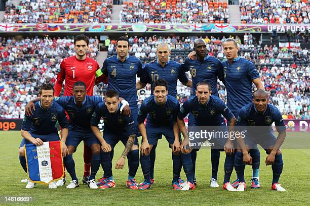 The French team line up during the UEFA EURO 2012 group D match between France and England at Donbass Arena on June 11 2012 in Donetsk Ukraine