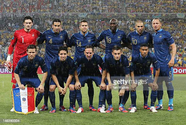 The French team line up during the UEFA EURO 2012 group D match between Ukraine and France at Donbass Arena on June 15 2012 in Donetsk Ukraine