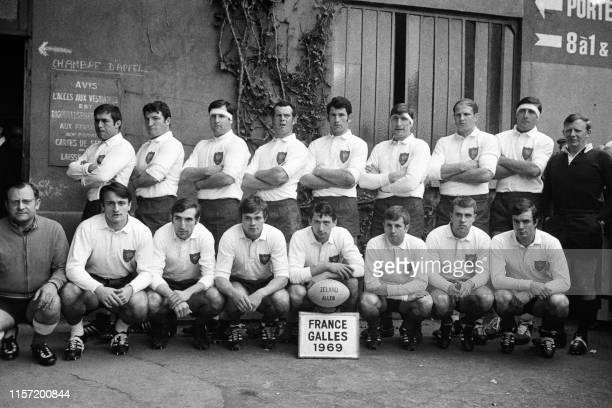 The French team of Rugby Union pose before winning against the Wales during the 1967 Five Nations Tournament on March 22 1969 in Colombes...