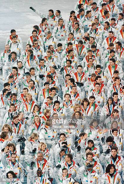 The French team parading at the opening ceremony of the Winter Olympics at the Theatre des Ceremonies Albertville Canada 8th February 1992