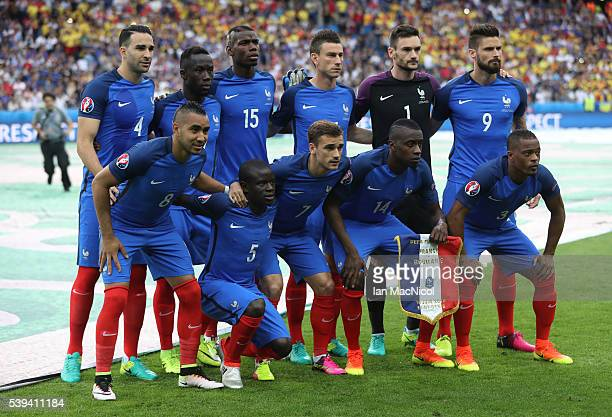 The French team poses for a photograph during the UEFA EURO 2016 Group A match between France and Romania at Stade de France on June 10 2016 in Paris...