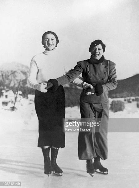 The French Tennis Player Suzanne Lenglen And Her Friend Colette Rosanbert Skating In Saint Moritz Ski Resort, In Switzerland On January 7, 1934