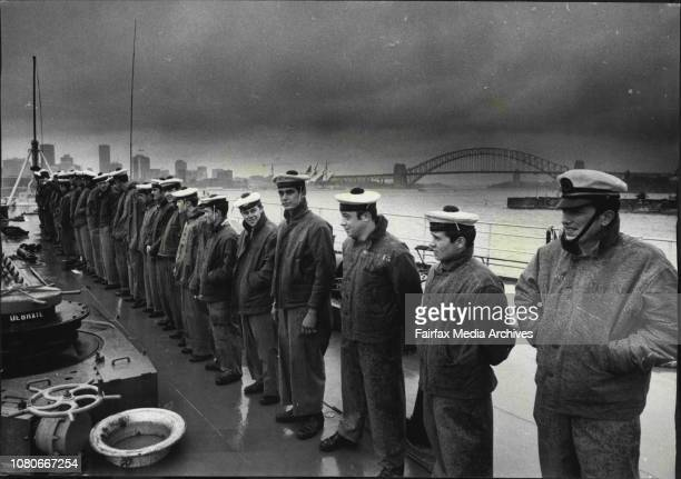 The French vessels Jeane DArc and Victor Schoelcher visit Sydney arrival Th Jan 13th 1971Wet welcome for French navy in Sydney Harbour aboard Jeane...