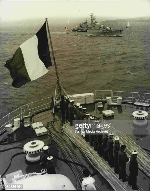 The French vessels Jeanne D'Arc and Victor Schoelcher visit Sydney arrival Th 13th 1971Jeanne D'Arc aircraft carrier on Sydney shore Victor...