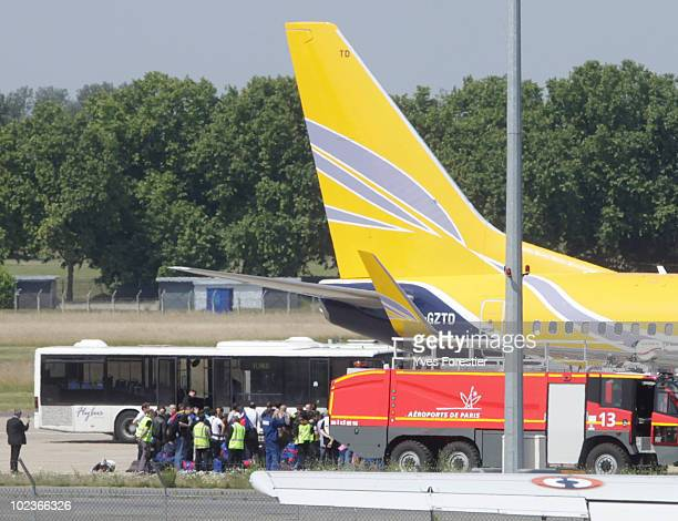 The French World Cup football team arrive at Le Bourget airport on June 24 2010 in Paris France
