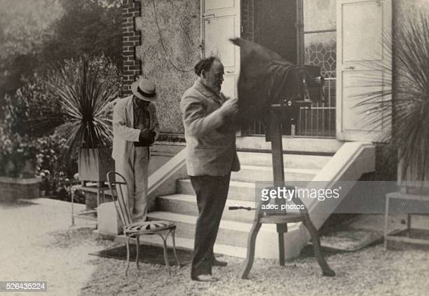 The French writer Emile Zola with a camera Ca 1890
