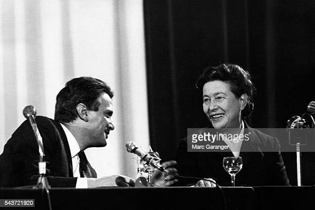 The French writer Simone de Beauvoir and Jorge Semprun the Spanish writer and Communist participate in a debate entitled 'What Can Literature Do' for...