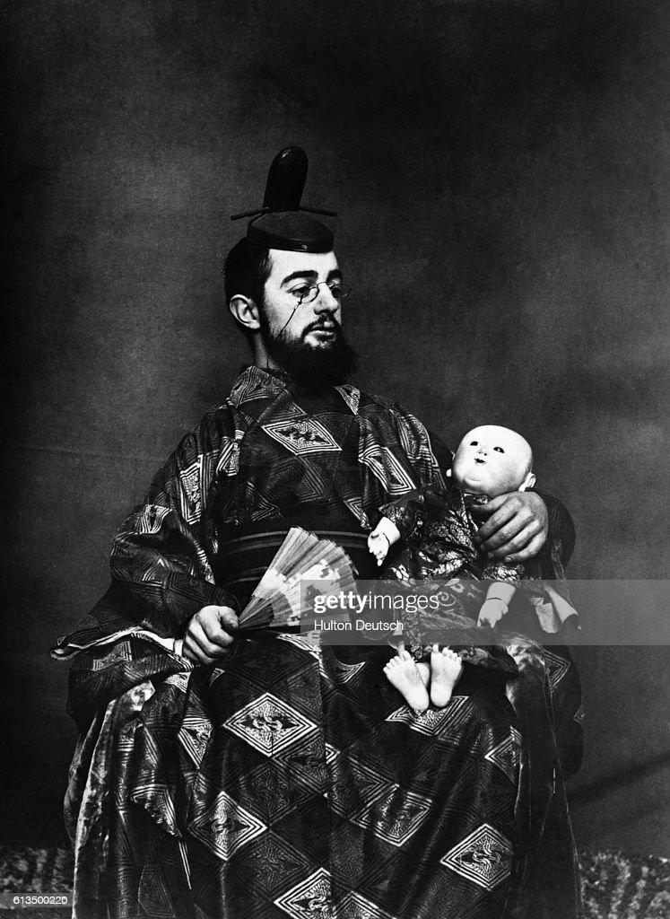 The French-born painter Henri de Toulouse-Lautrec (1864-1901), dressed in Oriental attire.