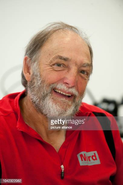 The Frenchman Guy Patin prior a press conference at the memorial place Sachsenhausen in Oranienburg Germany 26 July 2014 Through the travel with a...