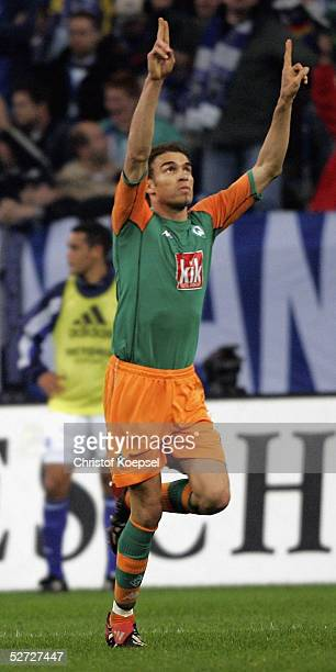 The Frenchman player Valerien Ismael celebrates his first goal during the DFB Pokal Semi Final Match between FC Schalke 04 and Werder Bremen, at the...