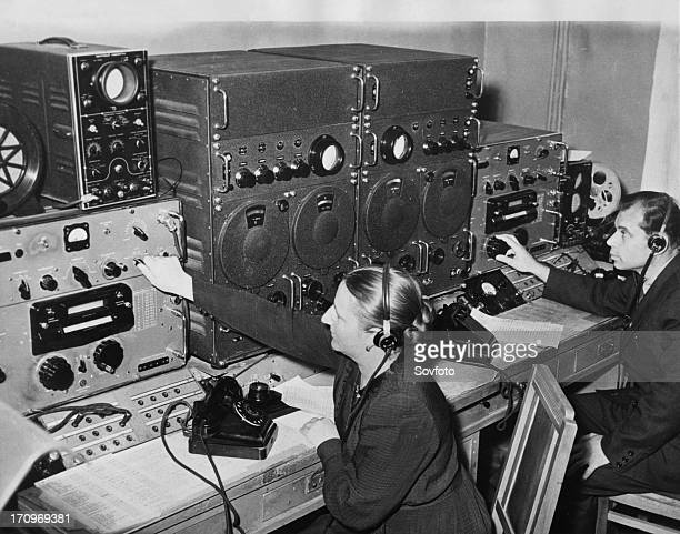 The frequency of the radio signals from sputnik 1 being measured at a radio control post near moscow observatory 1957