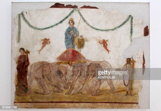 MUSEUM NAPLES CAMPANIA ITALY The fresco 'Venus on the chariot' arre displayed next to the work of Haris Epaminonda in the exibition Pompei@madre in...