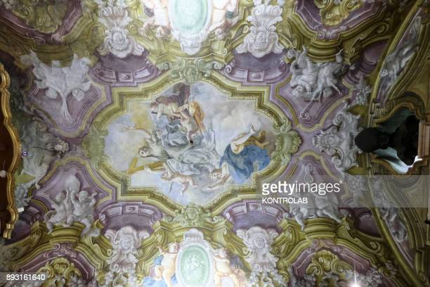 The frescoes on the roof of a room in the museum of San Gennaro in the Cathedral of Naples