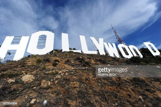 The freshly painted Hollywood Sign is seen after a press conference to announce the completion of the famous landmark's major makeover December 4...