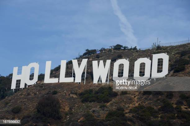 The freshly painted Hollywood sign is seen after a press conference to announce the completion of the famous landmark's major makeover on December 4...