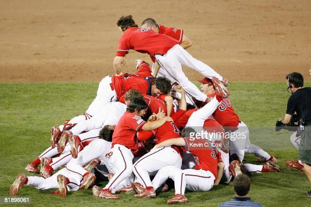 The Fresno State Bulldogs celebrates their win on the mound against the Georgia Bulldogs during Game 3 of the 2008 Men's College World Series...