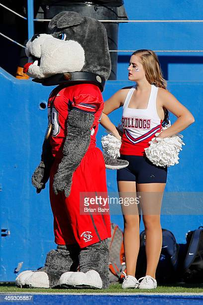 The Fresno State Bulldogs mascot watches from the sidelines against the San Jose State Spartans in the second quarter on November 29 2013 at Spartan...