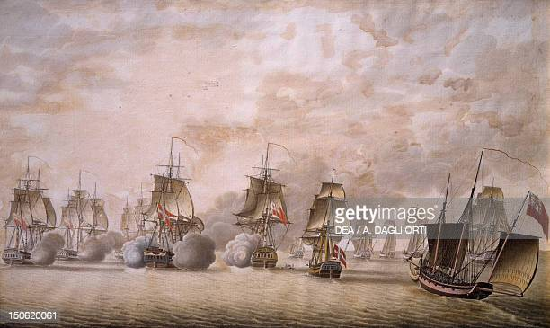 The Freya frigate under the command of Captain Krabbe attacking British ships July 25 watercolour by Lonning Napoleonic Wars Denmark 19th century