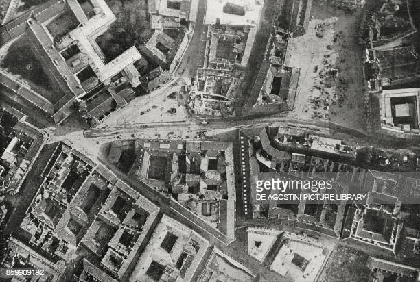 The Freyung and the Am Hof photographed from an aeroplane of the Serenissima squadron flying over Vienna Austria World War I from l'Illustrazione...