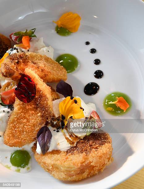 The fried green tomato and burrata salad at The Preservery a new restaurant and market with music in the Backyard on Blake 3040 Blake Street in...