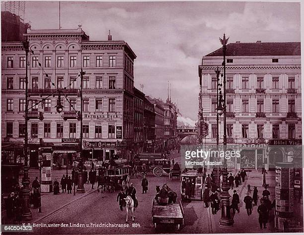 The Friedrichstrasse bustles with activity in Berlin during the late 1800s