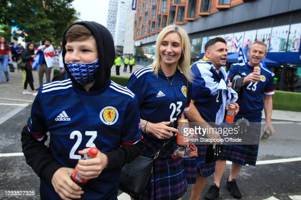 The friends and family of Billy Gilmour including his mum n the UEFA Euro 2020 Championship Group D match between England and Scotland at Wembley...