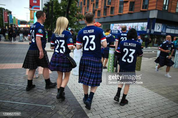 The friends and family of Billy Gilmour wearing shirts bearing his name ahead of the UEFA Euro 2020 Championship Group D match between England and...