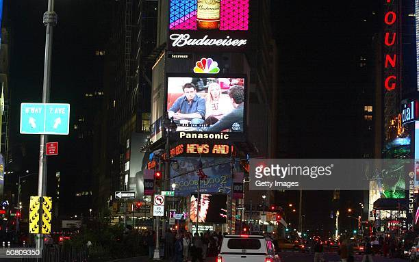 The Friends finale being broadcast live on the Astrovision video screen in Times Square May 6 2004 in New York City