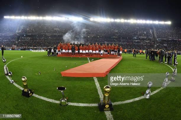 The friends of Rodrigo Mora during the farewell match of Uruguayan player Rodrigo Mora at Estadio Monumental Antonio Vespucio Liberti on July 13 2019...