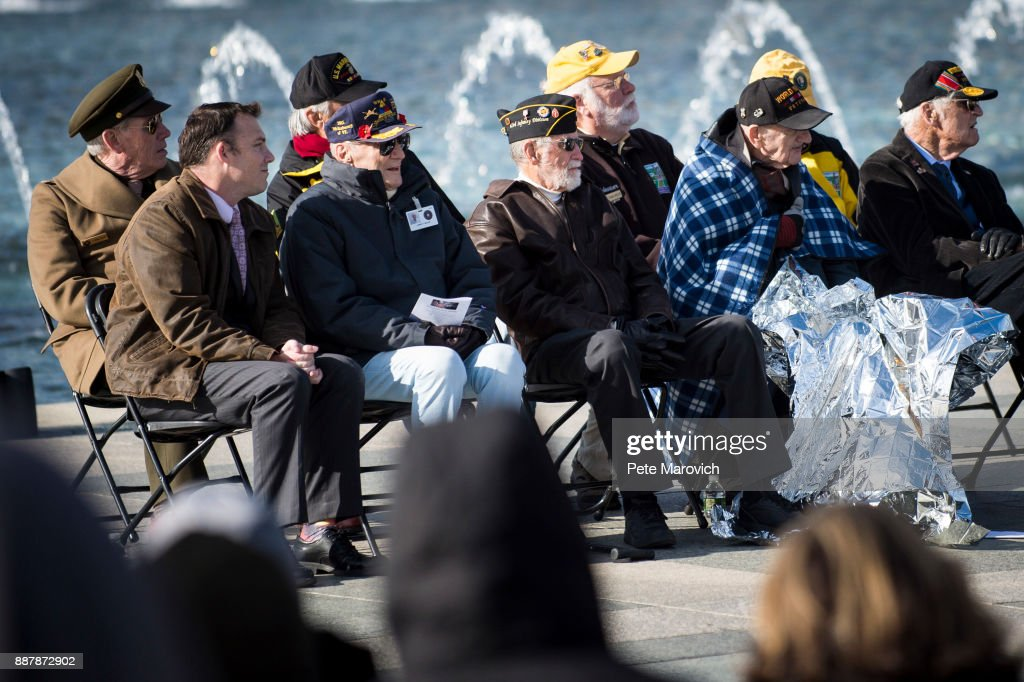 The Friends of the National World War II Memorial and the National Park Service, commemorate Pearl Harbor Remembrance Day on December 7, 2017 in Washington, DC. World War II veterans and Pearl Harbor survivors placed wreaths at the Freedom Wall to commemorate the more than 400,000 Americans who lost their lives during World War II, including the more than 2,400 who lost their lives on December 7, 1941.