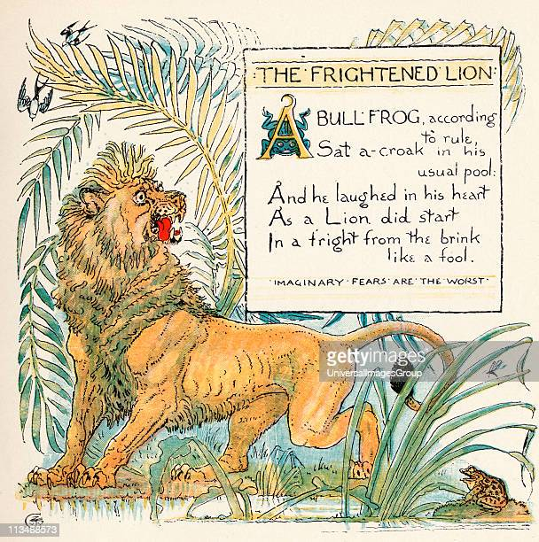 The Frightened Lion From the book Babys Own Aesop by Walter Crane published c1920