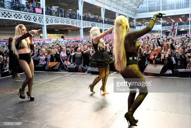 The Frock Destroyers featuring Baga Chipz Blu Hydrangae and Davina De Campo perform on stage at RuPaul's DragCon UK presented by World Of Wonder at...