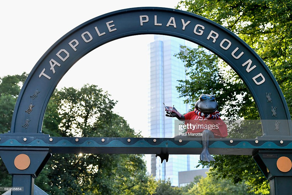 The frog statue at the Tadpole Playground on Boston Common has been decorated with an Olympic t-shirt, American Flags and swimmers goggles to mark wins by US athletes at the 2016 Rio Olympics in Brazil on August 19, 2016 in Boston, Massachusetts.