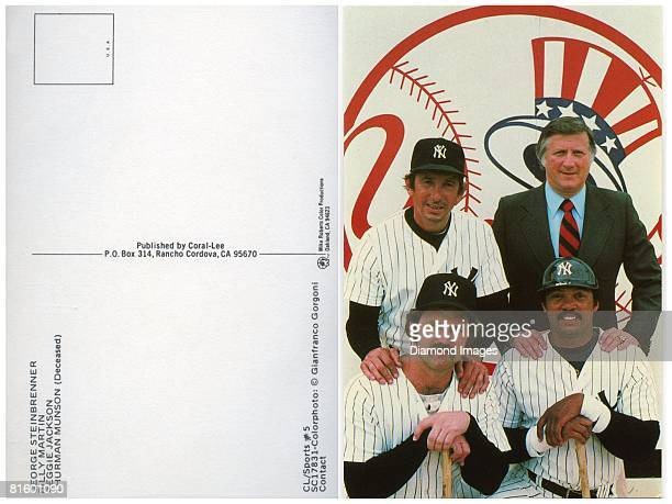 The front and back of a color postcard with owner George Steinbrenner manager Billy Martin catcher Thurman Munson and outfielder Reggie Jackson of...