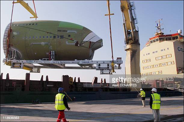 The front and middle fuselage parts of giant airplane Airbus A380 are assembled at the Saint Nazaire Airbus factory and sent to Pauillac In Saint...
