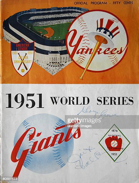 The front cover for the official program for the 1951 World Series between the New York Giants and the New York Yankees in October 1951 and the games...